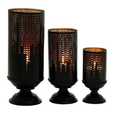 Rustic Skyline Candle Holder 3-piece Set, Brown