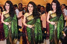 green + black saree