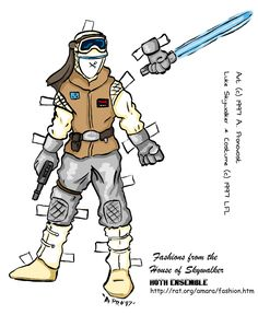 Luke Skywalker paper doll and outfits. go back to www.flyingarmadillo.com/cantina for Leia doll and fashion too.