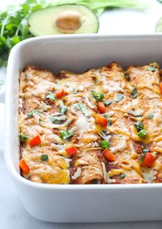 Sweet Potato Black Bean & Spinach Enchiladas- packed with veggies and so easy to make! #vegetarian