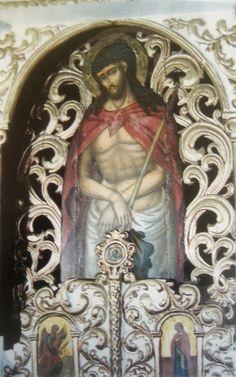 Ο Χριστός στο τύπο της άκρας ταπείνωσης. Θύρα της Ωραίας Πύλης στο ναό των Αγίων Αποστόλων στο Φρύνι. Εργο του Στυλιανού Δεβάρη.