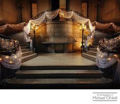 Michael ONeill Wedding Portrait Fine Art Photographer Long Island New York - Oheka Castle Grand Stairway Decorated For Elegant Wedding