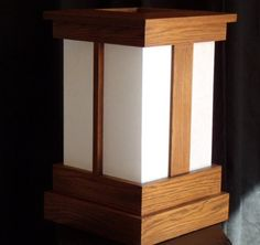 Ready to Ship Japanese-style Shoji Lamp - Mission Style - Oak with Mission Stain-original design