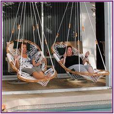27 Patio Pergola with swing beds and outdoor kitchen - josh-hutcherson Outdoor Spaces, Indoor Outdoor, Outdoor Living, Backyard Hammock, Hammock Ideas, Outdoor Hammock Chair, Outdoor Swings, Swinging Chair, Hammock Swing Chair