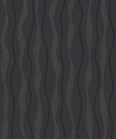 Glitz Black (887000) - Arthouse Wallpapers - A blown vinyl vertical wavy line stripe effect, with a textured background and silver glitter.  Shown in the charcoal and black colourway.  Please request sample for true colour and texture.