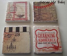 Custom TileCoasters tutorial made from tile scraps, mod podge and scrapbook paper. so adorable!
