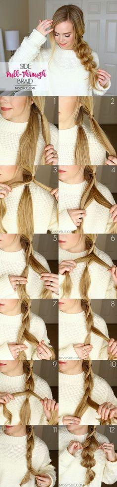 Hairstyle // Side pull-through braid hair tutorial. Cool hair every day hair hair ideas New Hair, Your Hair, Wavy Hair, Braiding Your Own Hair, Simple Prom Hair, Step By Step Hairstyles, Hair Dos, Girl Hairstyles, Wedding Hairstyles