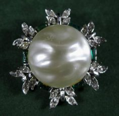 Vintage Brooch Silver Tone Metal Green Clear Rhinestones Baroque Cabochon | eBay