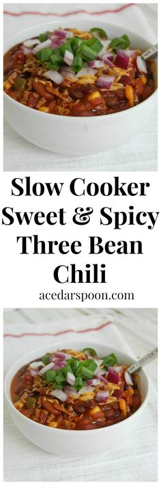 Slow Cooker Sweet and Spicy Three Bean Chili