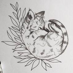 Эскиз тату с котенком