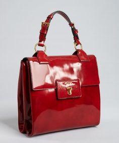Prada : scarlet patent leather turn lock tote bag Because Scarlet Red is never out of Fashion! Best Handbags, Prada Handbags, Clutch Bag, Tote Bag, Discount Designer Handbags, Shopper Tote, Handbag Accessories, Ladies Accessories, Fashion Bags