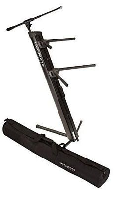Ultimate Support - Ultimate Support AX-48 Pro Plus Two-tier Portable Column Keyboard Stand (Black), Boom Attachment, Ulti-Boom Pro-TB, and Tote