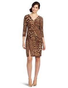 Anne Klein Women's V-neck Dress, Brown/beige, Medium