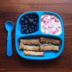 Blueberries, whole milk yogurt mixed with mashed raspberries, whole wheat toast with homemade almond butter Toddler Friendly Meals, Healthy Toddler Meals, Toddler Lunches, Kids Meals, Toddler Food, Baby Meals, Healthy Food, Baby Food Recipes, Snack Recipes