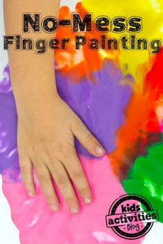 No-Mess Finger Painting is a great activity for when you want to keep kids busy without getting out a ton of supplies.