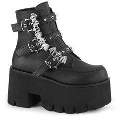 Hot For Heels And More - Demonia Black Vegan Leather - Chunky heel cut out platform ankle boot featuring studded bat buckle straps. Heel: N/A Platform: 3 Black Platform Boots, High Ankle Boots, Mid Calf Boots, Lace Up Boots, Shoe Boots, Platform Shoes, Chunky Heel Platform Boots, Goth Boots, Chunky Shoes