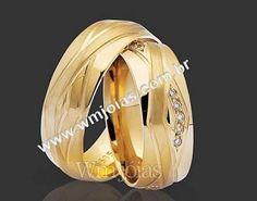 Aliança de noivado e casamento  Aliança em ouro amarelo 18k 750  http://www.wmjoias.com.br