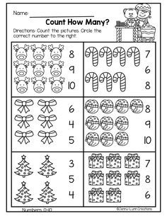This packet is perfect for the holiday season. Plenty of math and literacy practice with a fun holiday theme. Christmas Worksheets, Christmas Math, Kindergarten Math Worksheets, Math Literacy, Preschool Christmas, Preschool Activities, Free Preschool, Numbers Preschool, Preschool Learning