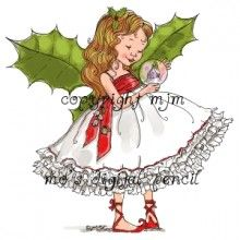 Christmas Fairy Holly digi stamp by Mo's Digital Pencil.   Please purchase them, Pins without watermarks are stolen.