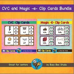 Short Vowel Words (CVC) and Magic E Words (CVCE) Clip Cards Bundle (144 task cards in total)This is a discounted, BUNDLED pack of my 2 products:1. CVC Clip CardsCVC Task CardsThere are 84 clip cards in this set:short a : bag, bad, bat, yam, ham, cab, cat, cap, dad, van, wag, jam, pad, tap, mat, fan, hat, map,fat, gap, mad, ratshort e : red, wet, net, bed, fed, men, den, hen, hem, beg, jet, peg, wed, web, pen, tenshort i : pin, tin, dig, bib, lid, dip, kid, hit, lip, big, pit, zip, fix, fin…