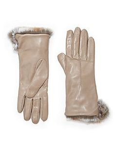 Saks Fifth Avenue Collection Rabbit-Cuff Leather Gloves - $172 (Sale: $120) - would've gotten them if they weren't sold out >:(