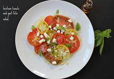 This is a simple heirloom tomato salad but has amazing flavor! The tomatoes are ripe and sweet and along with the salty feta and fantastic olive oil.