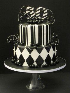 Black and White 50th Birthday Cake