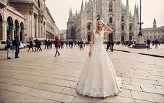 Eddy K Milano Style MD213.      Illusion, Lace / Tulle, Cap Sleeves, Ball Gown. Colors: Ivory / Ivory. Champagne / Ivory.