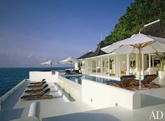 Beach Pool in Round Hill, Jamaica _ chairs