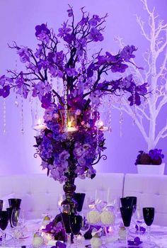 Purple Wedding Centerpiece ... For a Reception Guide ... https://itunes.apple.com/us/app/the-gold-wedding-planner/id498112599?ls=1=8  ... The Gold Wedding Planner iPhone App.