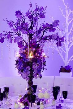Purple Wedding Centerpiece ... For a Reception Guide ... https://itunes.apple.com/us/app/the-gold-wedding-planner/id498112599?ls=1=8  ... The Gold Wedding Planner iPhone App.