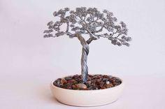 Bonsai wire tree sculpture modern hand made art craft by Minskis, $125.00