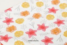 Tricolor flower fabric Tricolor pattern 44x35