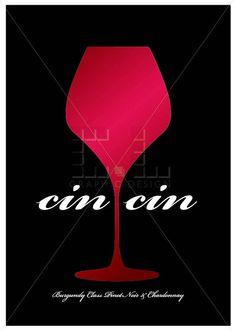 Cin cin Cheers poster, Burgundy Class Pinot Noir & Chardonnay, French Burgundy art by ateliercldesign, $19.00