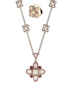 Look at this Amabel Designs Crystal & Rose Gold Pendant Necklace & Ring Set on #zulily today!