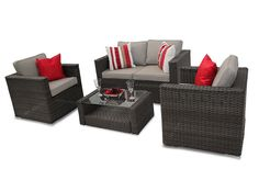 Modus Bahia 4PC Sofa Set - Brown Rattan Garden Furniture