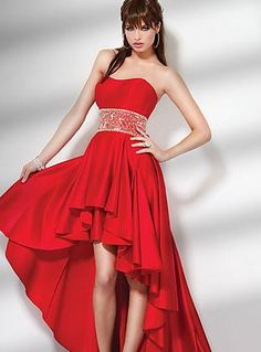 Embellished Red Satin Strapless Natural Prom Dress Sale kaladress10375