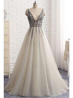 Chic Prom Dresses A-line Rhinestone V-neck Long Prom Dress/Evening Dress JKS168