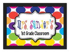 Custom Framed Teacher Name Sign Colorful Polka Dot Personalized Letters Class School Gift Classroom Decor Wall Art Door Hanger Grade
