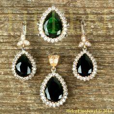 Hurrem Sultan Harim Soltan Set Tear Drop Emerald Color Ottoman Jewelry 925SS