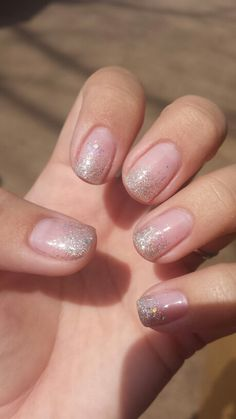 Glitter ombre nails gel polish- great shape, more glitter in tips