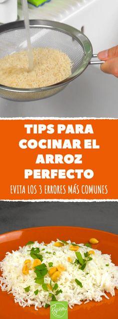 Tips para cocinar el arroz cocinato Shrimp Recipes, Rice Recipes, Mexican Food Recipes, Keto Recipes, Healthy Recipes, Bon Ap, C'est Bon, Cooking Tips, Cooking Recipes