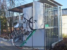 Overview The Josta® BikeStore 2 is a unique secure bike locker that combines the space saving qualities of the popular Josta rack with the Craftsman Sheds, Bike Locker, Cheap Sheds, Bike Shed, Bike Store, Building A Shed, Shed Plans, Lockers, How To Find Out