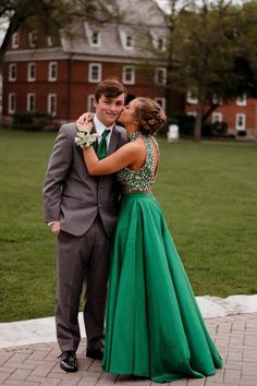 Green Two Piece Floor Length Halter Sleeveless Keyhole Back Beading Prom Dress,Formal Dress Green Two Piece Floor Length Halter Sleeveless by PrettyLady on Zibbet Prom Pictures Couples, Prom Couples, Prom Photos, Prom Pics, Teen Couples, Maternity Pictures, Couple Pictures, Cute Homecoming Pictures, Dance Pictures