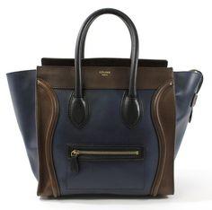 CELINE Navy Blue Brown Leather Trim Mini Luggage Tote Handbag $2,499.00