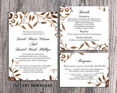 DIY Wedding Invitation Template Set Editable Word File Instant Download Printable Leaf Invitation Rustic Gold Invitation Elegant Invitation by TheDesignsEnchanted on Etsy