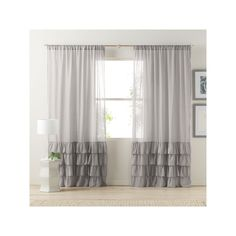 LC Lauren Conrad Kate Ruffle Sheer Curtain, Grey