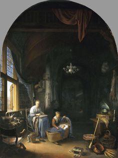 'De jonge moeder', 1658 - Gerrit / Gerard Dou. Mauritshuis, the Hague
