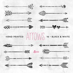 White & Black Arrows Clipart. Tribal native diy Elemente