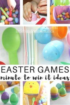 Minute It To Win It Easter games for kids and families. Fun family Easter games that encourage fine motor and gross motor play. Our simple and inexpensive Easter games are also great for classroom parties! Easy kids party games for kids of all ages to enj Easy Kids Party Games, Fun Games For Adults, Easter Party Games, Games For Kids Classroom, Easter Activities For Kids, Spring Activities, Science Activities, Birthday Games, Kids Fun